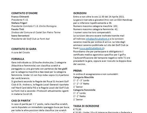 TROFEO LE FONTI 18/18 – GARA NAZIONALE 18/18 – 25 APRILE
