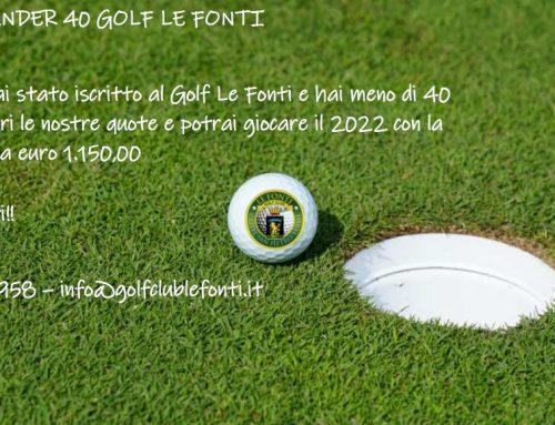 PROMO UNDER 40 GOLF LE FONTI